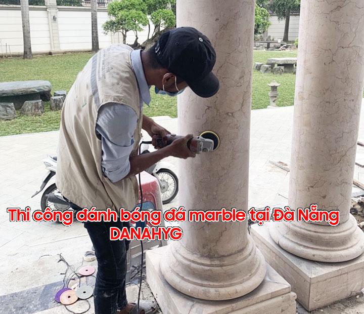 Đánh bóng cột đá marble tại Đà Nẵng